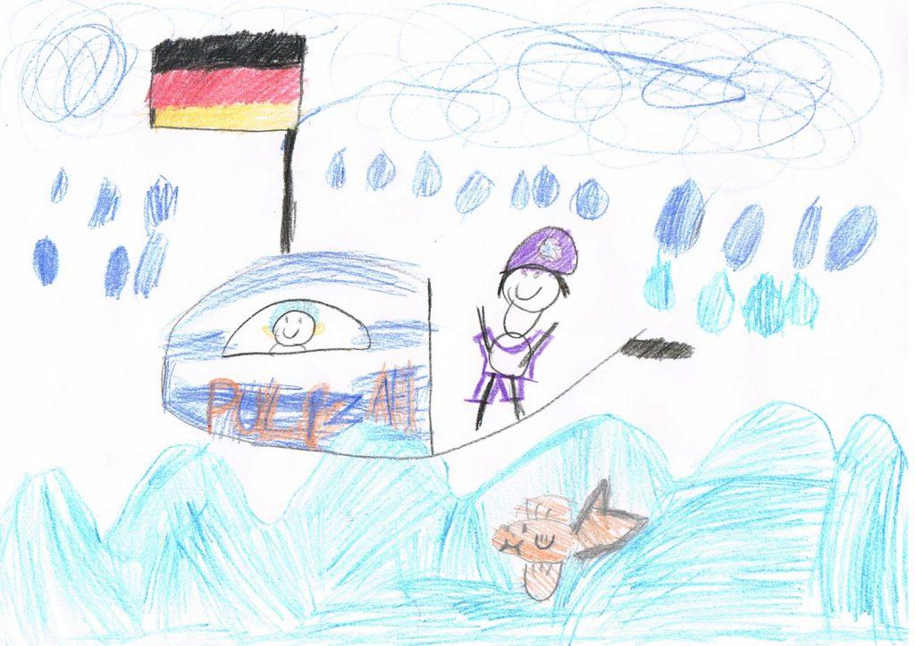 Malwettbewerb 6-10 Zwei Polizisten sind auf der Elbe unterwegs im Sturm