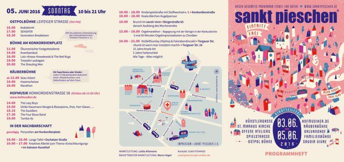Flyer für das Stadtteilfest sankt pieschen 2016 Vorderseite