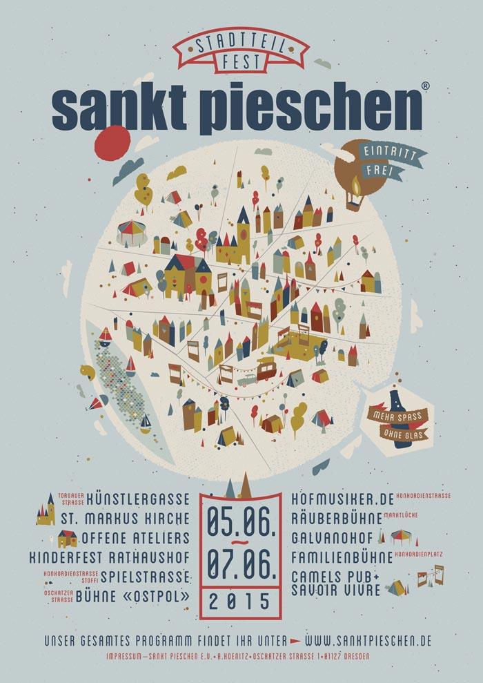 Plakat für das Stadtteilfest sankt pieschen 2015