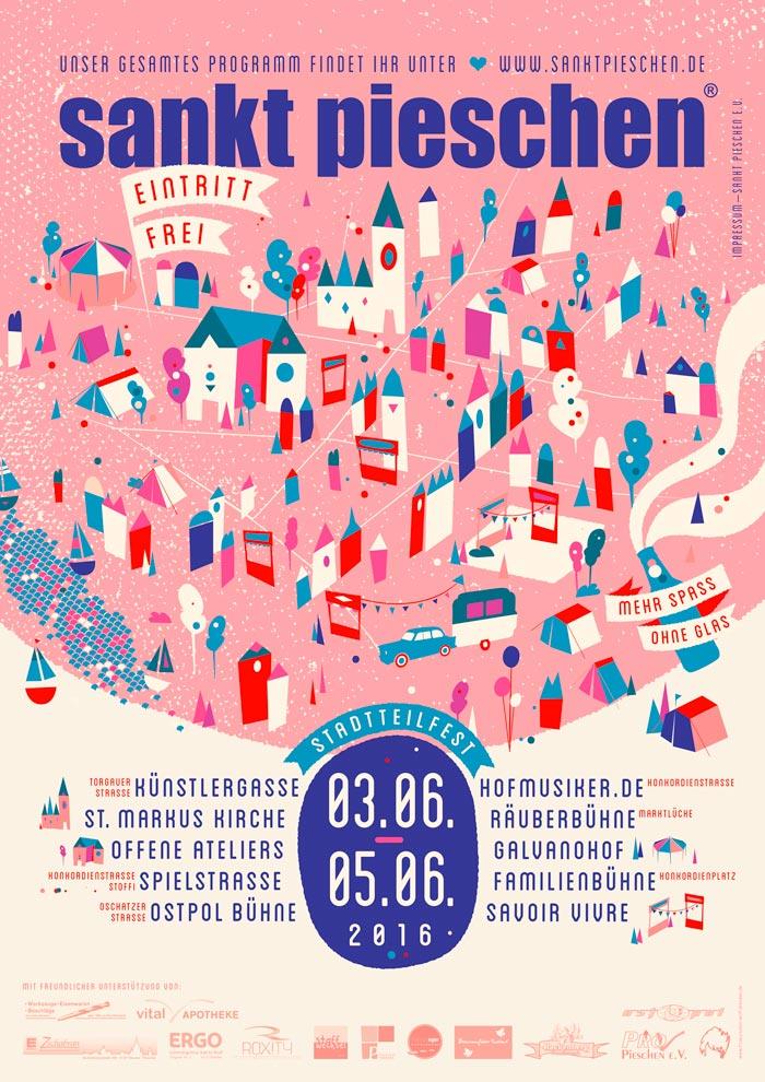 Plakat für das Stadtteilfest sankt pieschen 2016